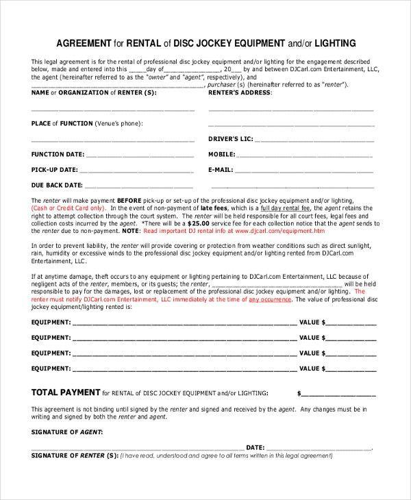 Equipment Rental Contract Sample 12 Equipment Rental Agreement - dj contract template
