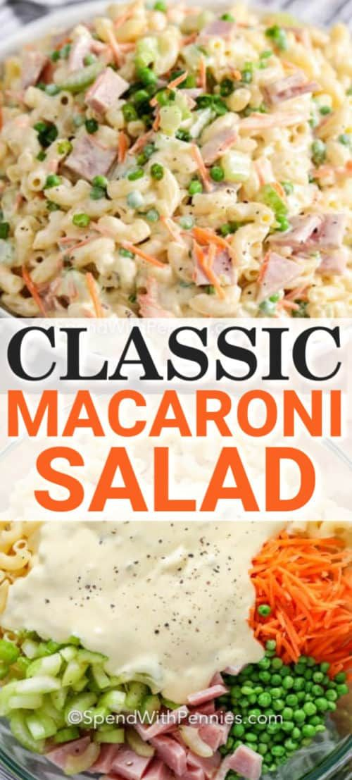 Classic macaroni salad combines creamy mayo dressing with the goodness of pasta and veggies!