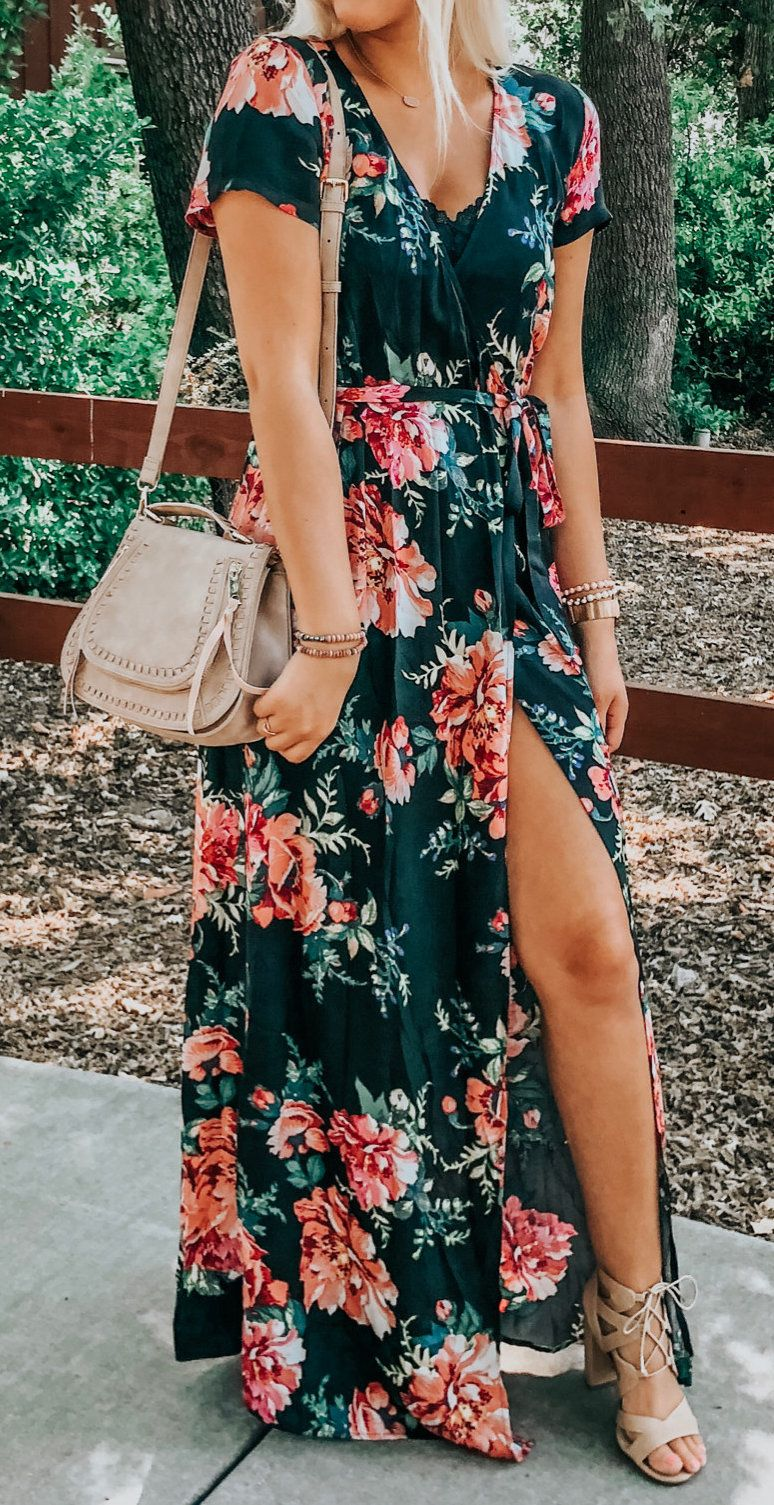 black and pink floral dress #spring #outfits