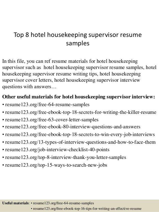 hotel housekeeping resume samples