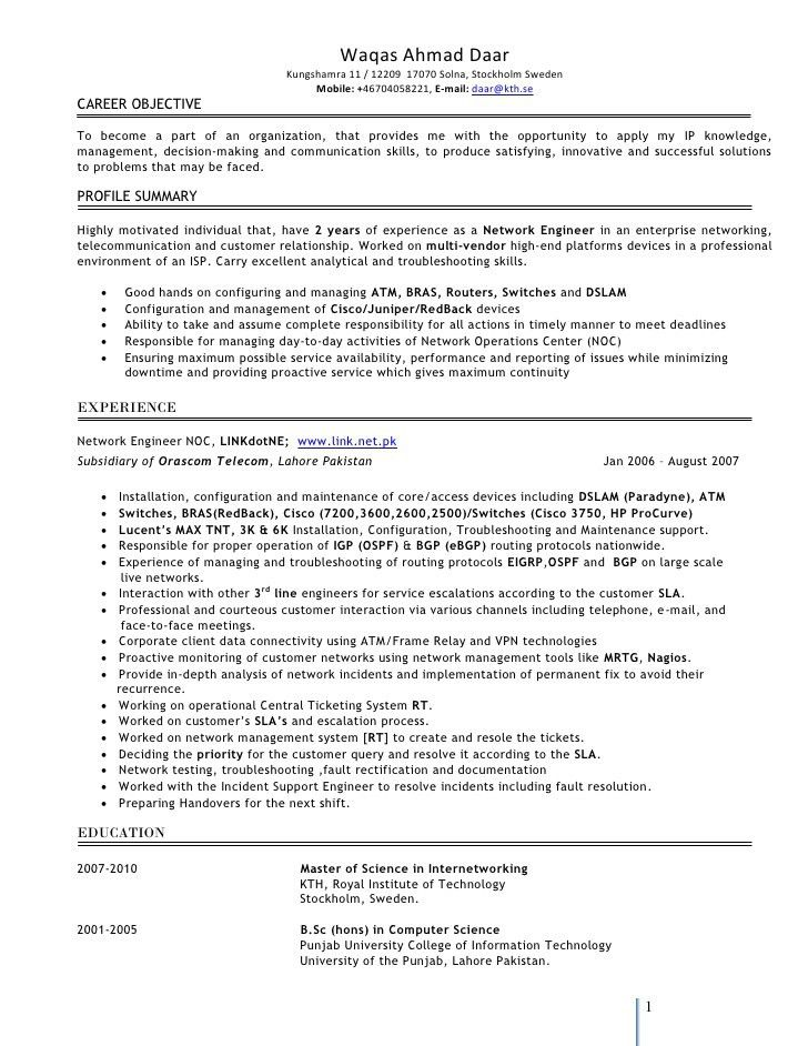 ... Ccna Resume Sample Ccnp Network Engineer Resume Free Word   Telecom  Switch Engineer Cover Letter ...