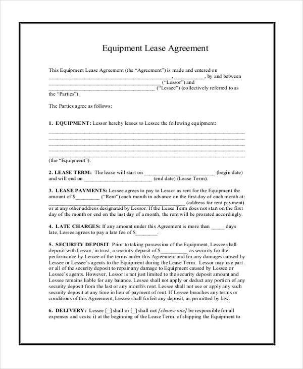 Format Of Lease Agreement Lease Agreement Form A To Z Free - equipment lease agreement template