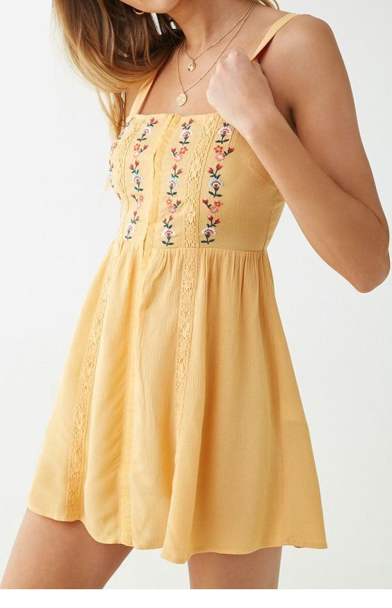 Cool yellow dress with boho print