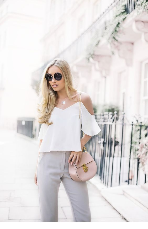 White top and grey pants for office time