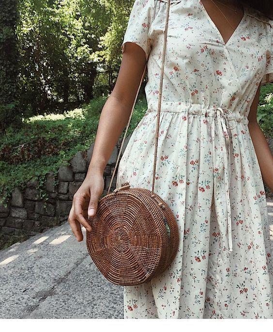 Boho floral dress, boho bag