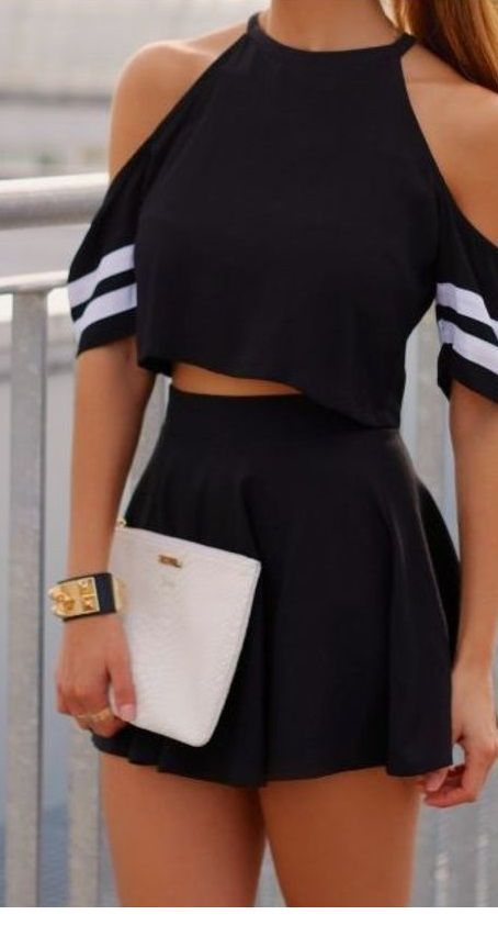 Black crop top, skirt and white bag