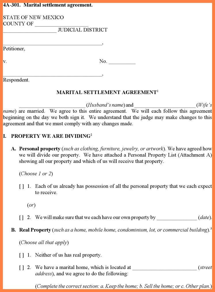 Marital Settlement Agreement Template Divorce Agreement Template - settlement agreement template