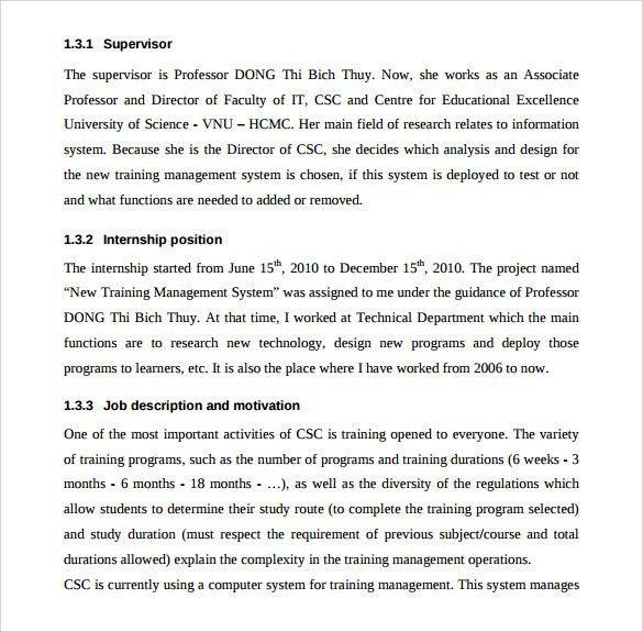 Report Sample Template 13 Board Report Templates Free Sample - sample internship report template
