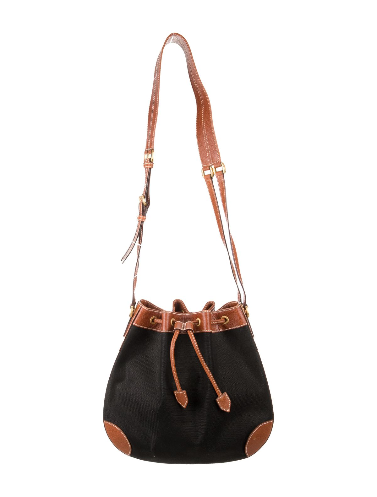 the real real consigned Black Micro GG canvas vintage Gucci bucket bag with gold-tone hardware, contrast stitching throughout, single flat shoulder strap, caramel leather trim, brick interior lining, zip pocket at interior wall and drawstring closures at top.