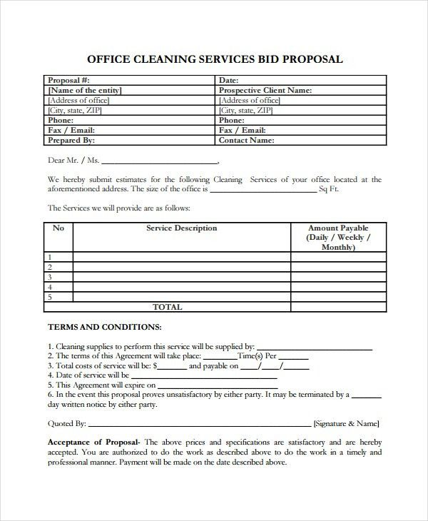 Sample Cleaning Service Agreement Cleaning Contract Template 27 - cleaning proposal letter