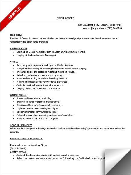 Resume Objective Dental Assistant Dental Assistant Resume Sample