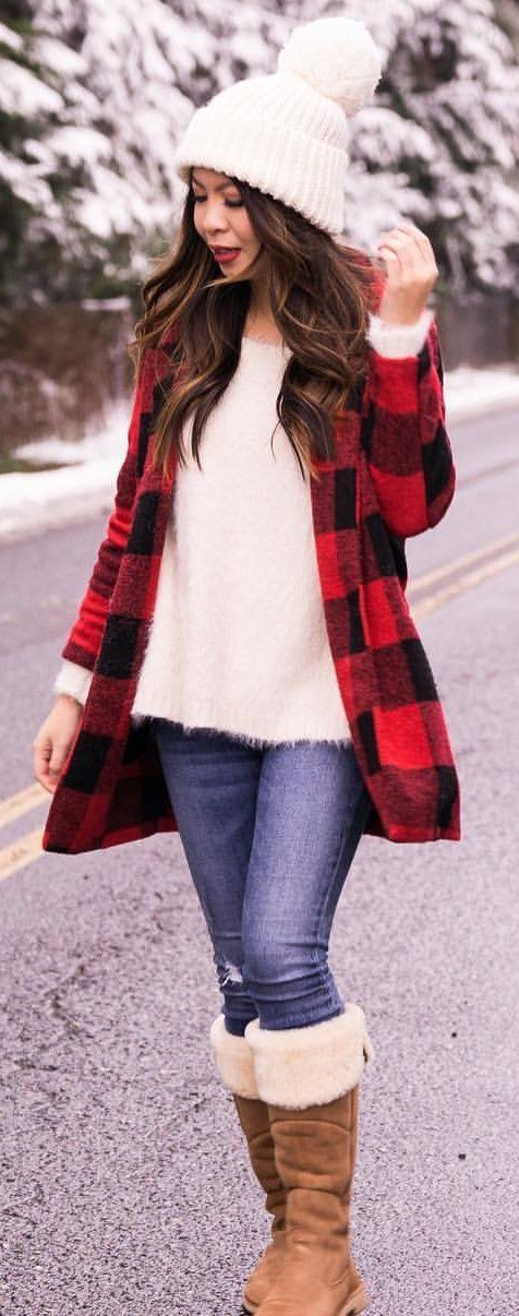 red and black gingham coat