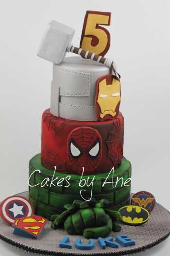 The Super Hero Cake, with all superhero favorites this cake has it all. Choose this cake to whisk someone away to where they can save the world (and eat cake)!