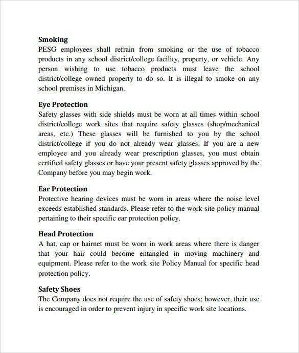 Policy Manual Template Policies And Procedures Manual Template - safety manual template