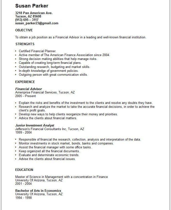 sample resume for financial services financial advisor resume