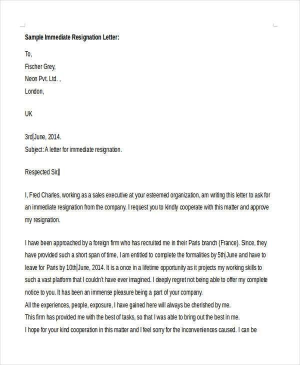 Sample Resignation Letter Template 8+ sample resignation letter - immediate resignation letter
