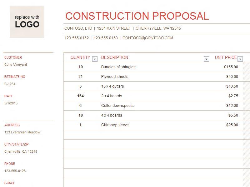 sample estimate for house construction