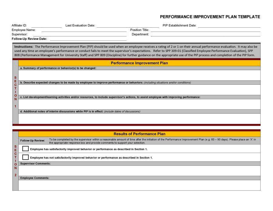 Sample Employee Performance Improvement Plan Template 9 - improvement plan template