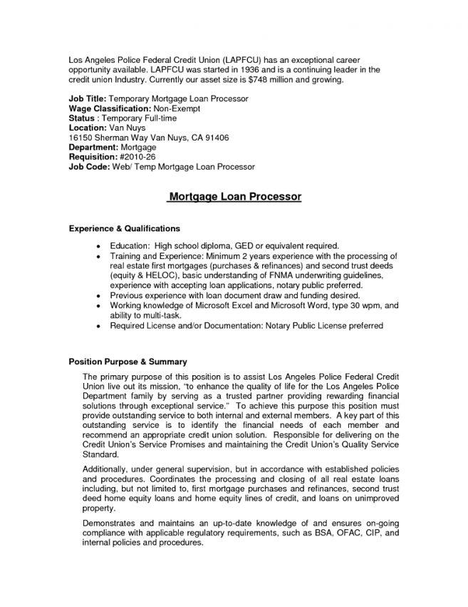 Loan Processor Resume Sample Of For