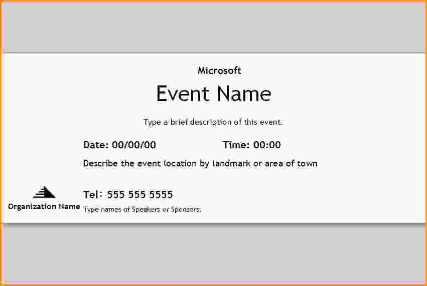 Microsoft Word Event Ticket Template. Blank Event Ticket Template 14 Event  Ticket Templates ...  Event Tickets Template Word