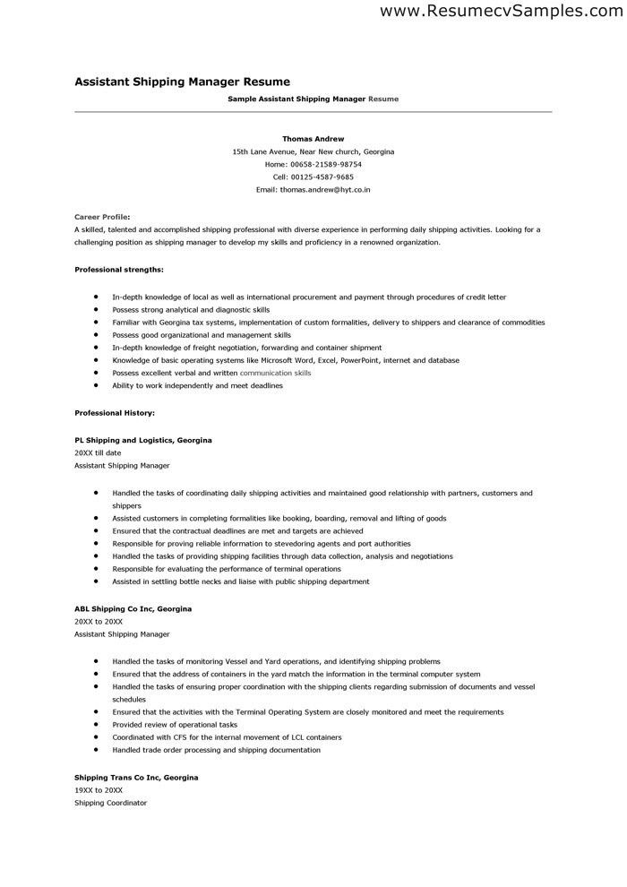 Shipping Resume Sample] Functional Resume Sample Shipping