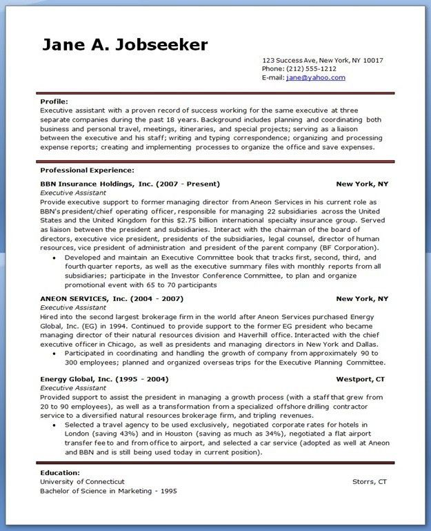 resume personal assistant