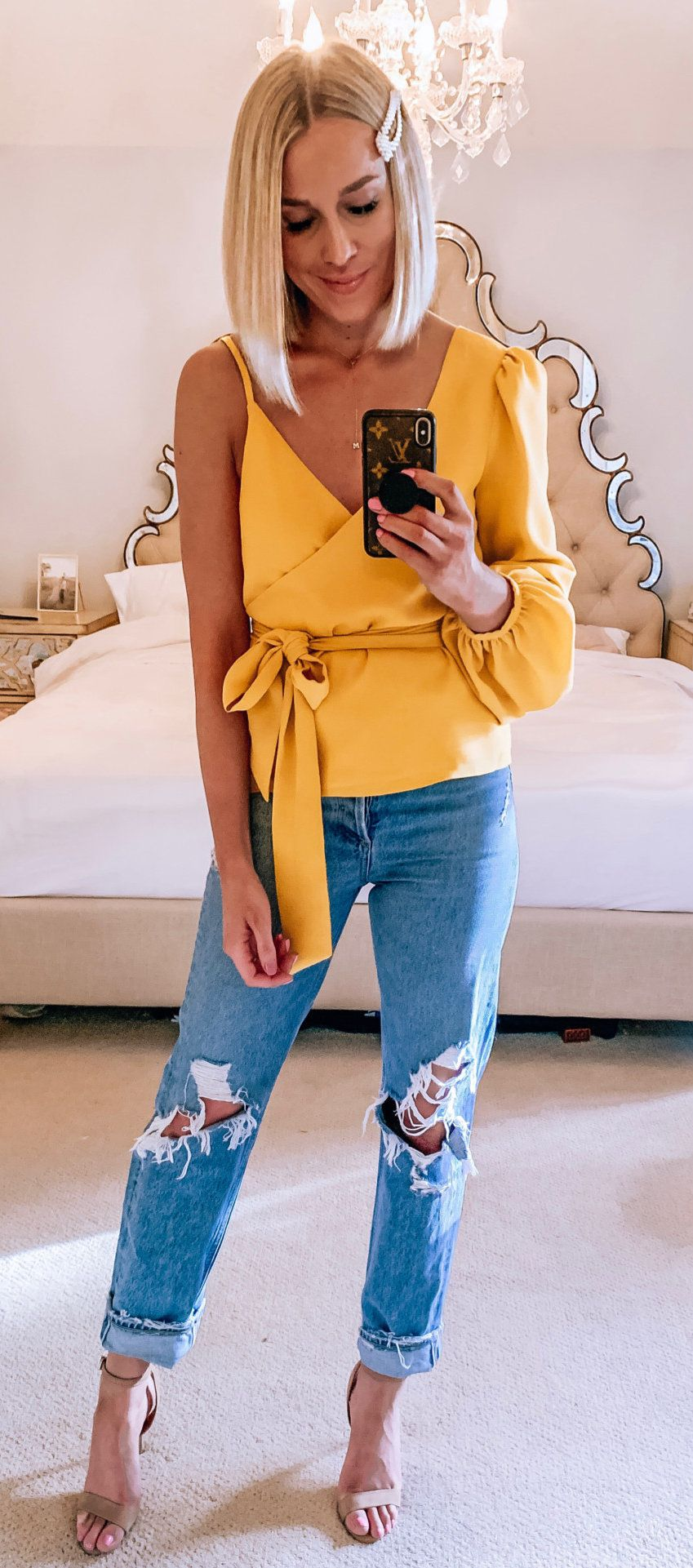yellow one-shoulder shirt #spring #outfits