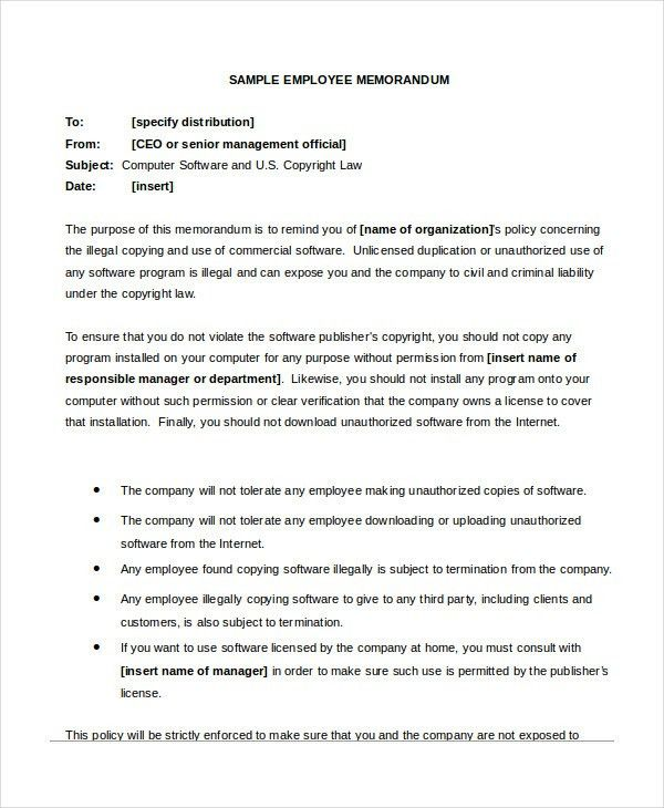 sample business memos to employees