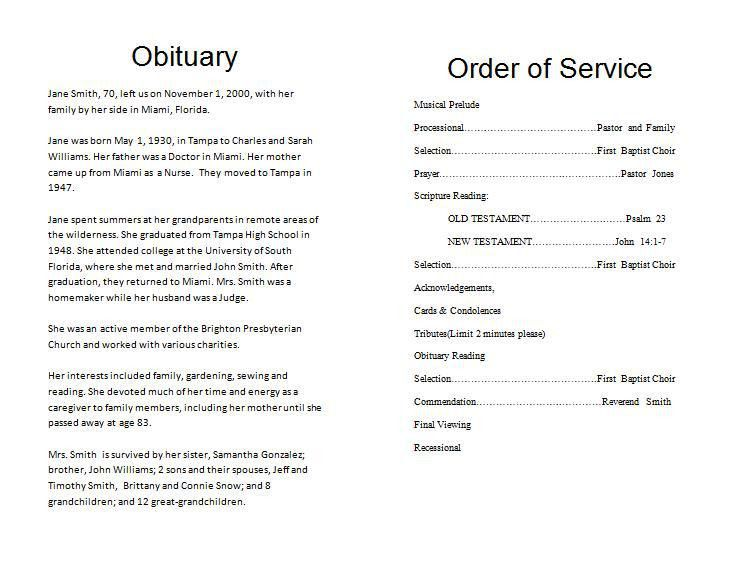 Funeral Service Template Word Free Funeral Program Template - funeral program template microsoft