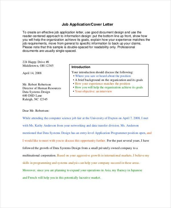 Job Fair Cover Letter Sample Thank You Letter For A Job - employment application cover letter