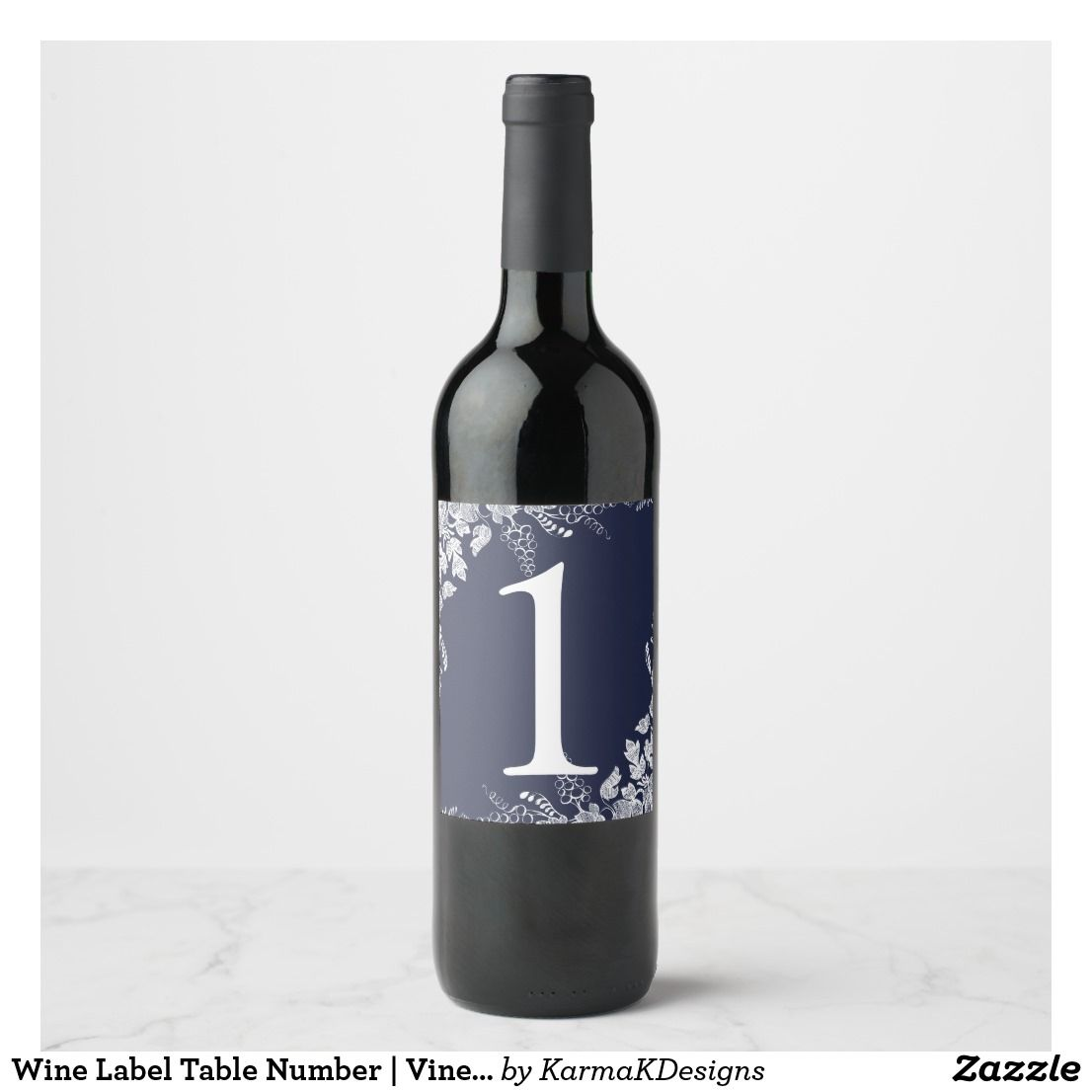 Wine Label Table Number | Vineyard (Navy Blue)