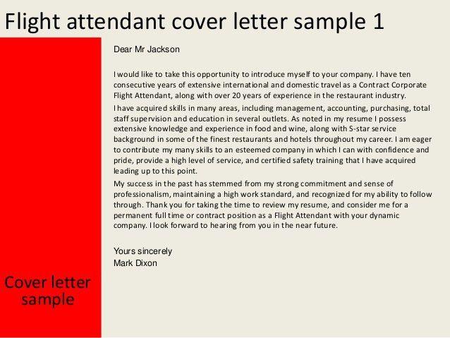 Flight Attendant Resume Cover Letter Flight Attendant Cover - sample flight attendant resume