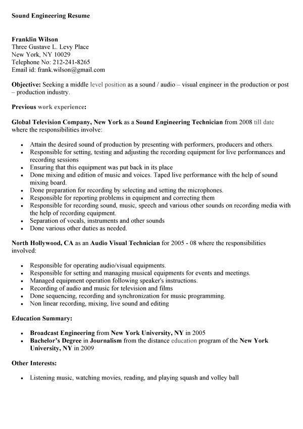 Sound Engineering Technician Cover Letter - Alexandrasdesignsound ...