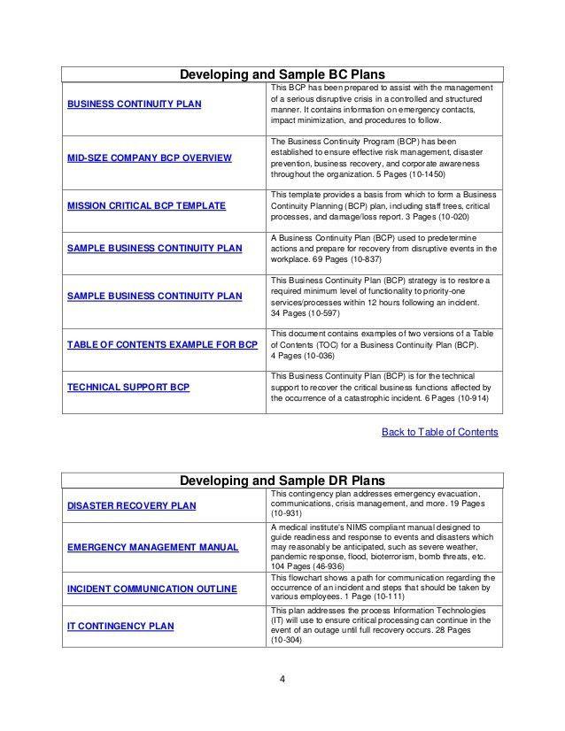 emergency contingency plan template