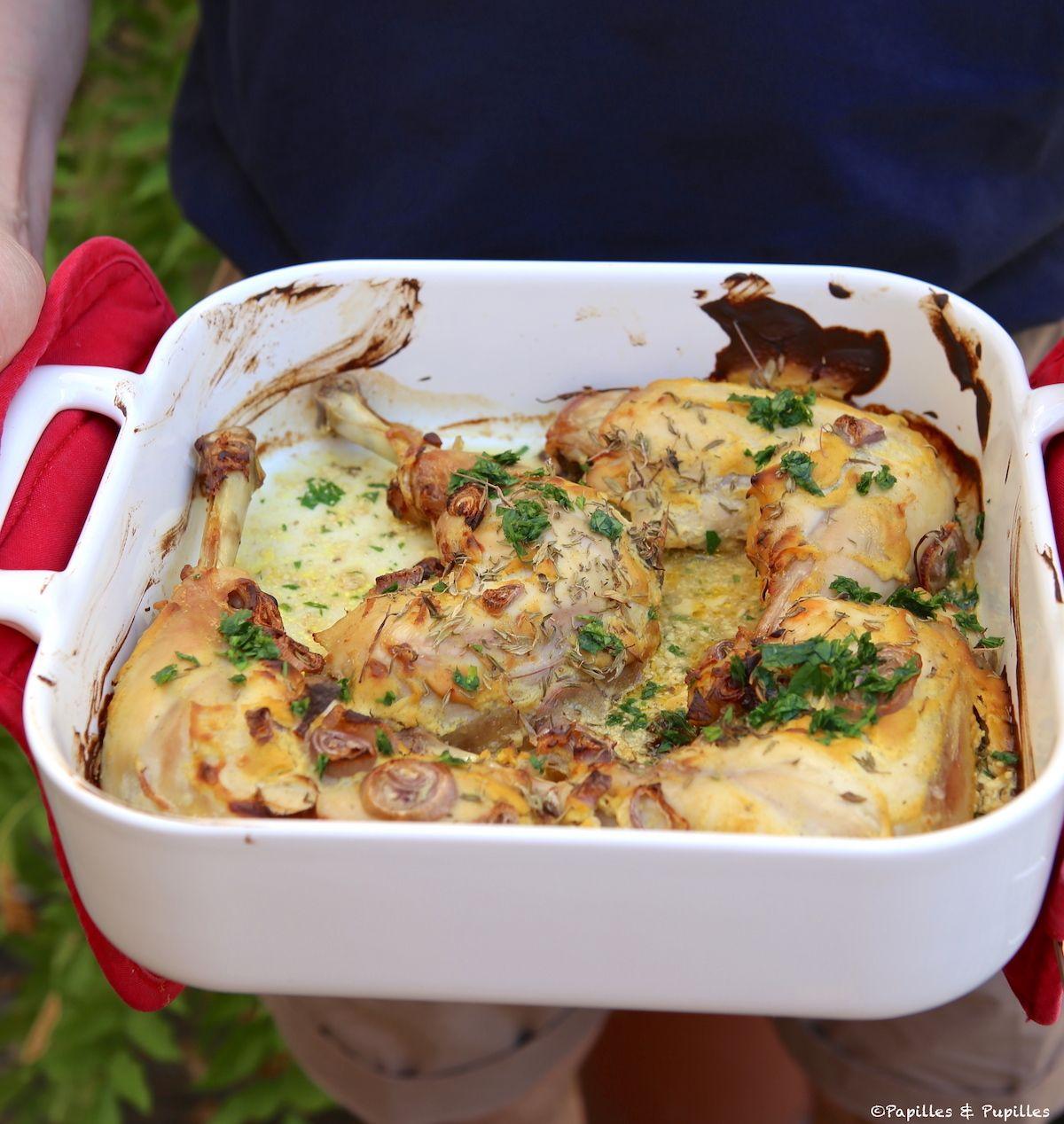 Cuisses de poulet à la moutarde et au thym