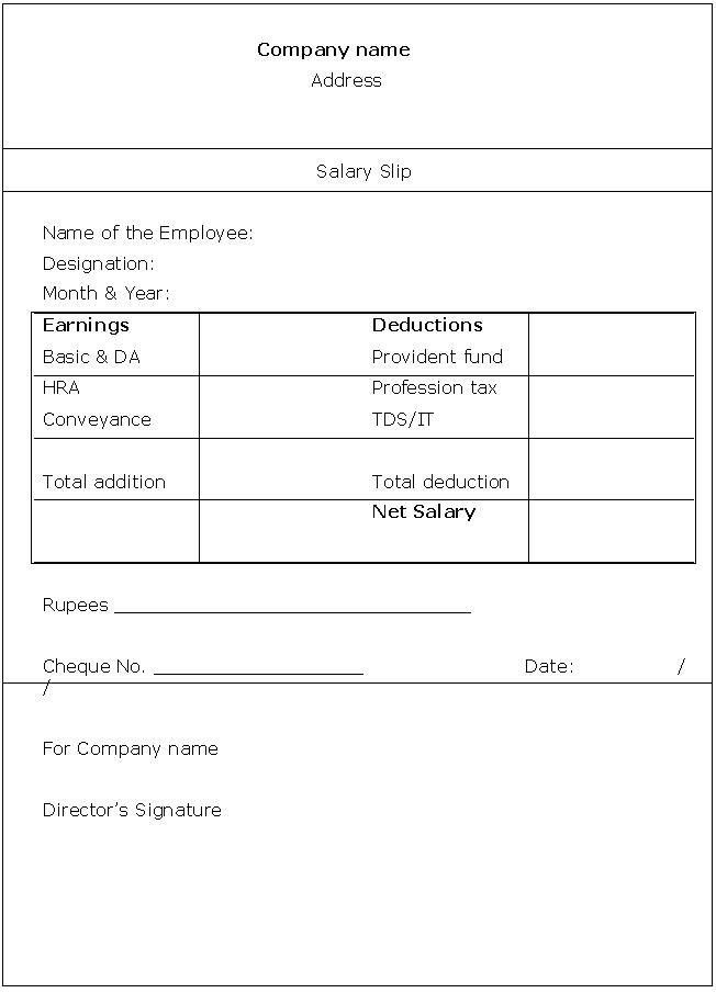 Wage payslip template