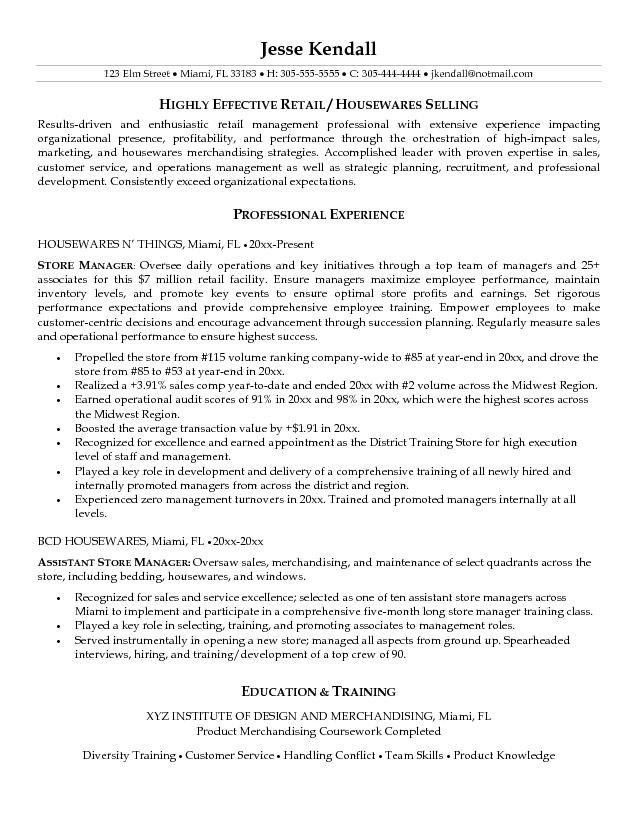 Objective For Resume Retail Objectives