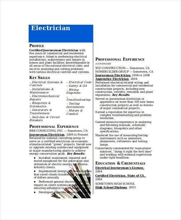 Electrician Resume Templates Unforgettable Journeymen - electrician resume template