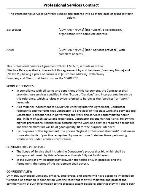 Simple Service Agreement Simple Service Contract Sample 7 - business service agreement