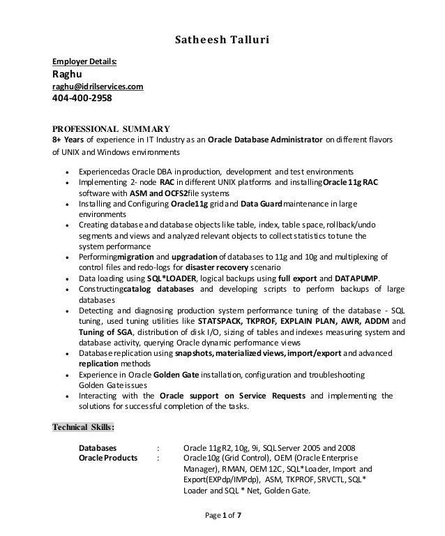Database Administrator Cover Letter Top 5 Database Administrator - sample database administrator resume