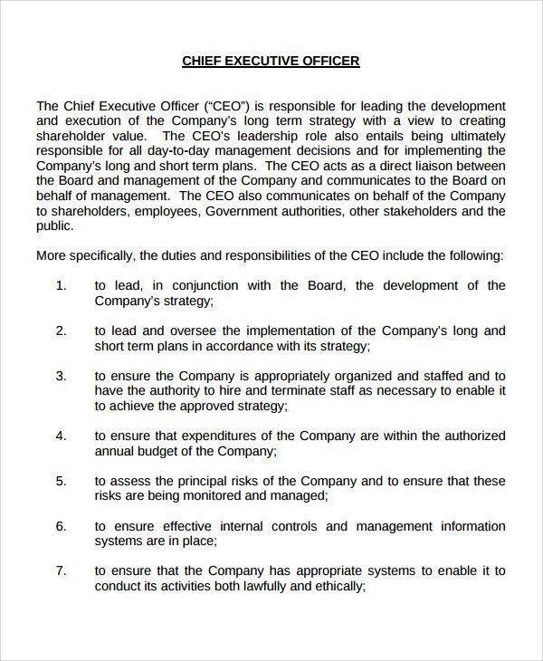Company Description Template 9 Company Description Examples Free - ceo job description