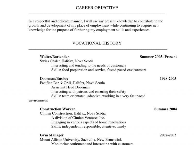 Bar Back Resume Barback Resume Sample Quintessential Livecareer - busboy resume sample