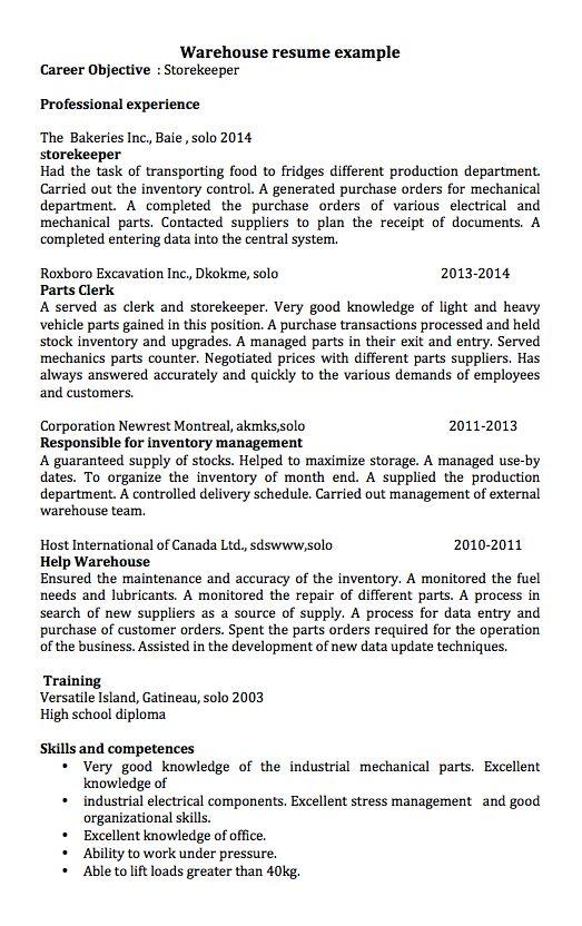 inventory resume - Warehouse Resume Sample Canada
