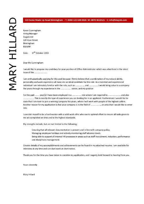 Attractive Department Administrator Cover Letter