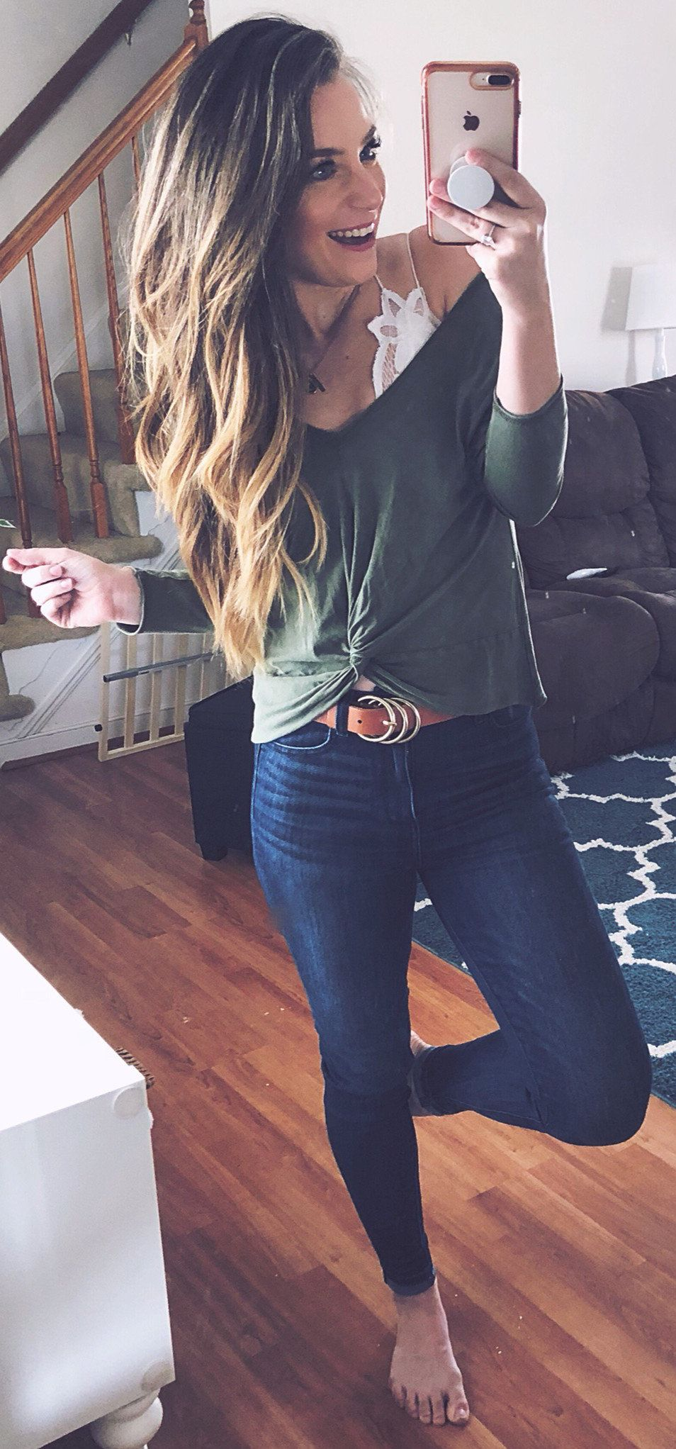 green long-sleeved shirt #spring #outfits