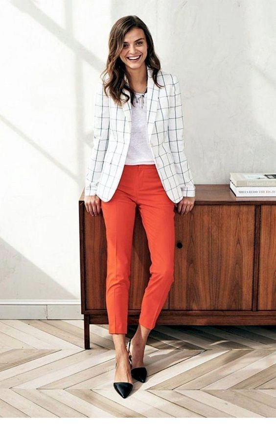 Plaid blazer and coral pants