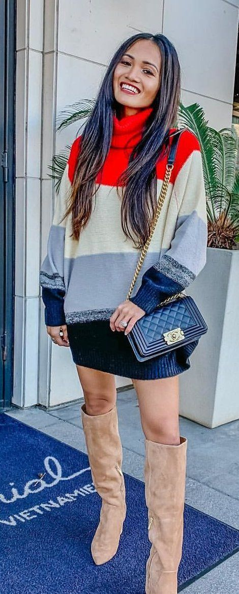 red, white, and gray striped sweater