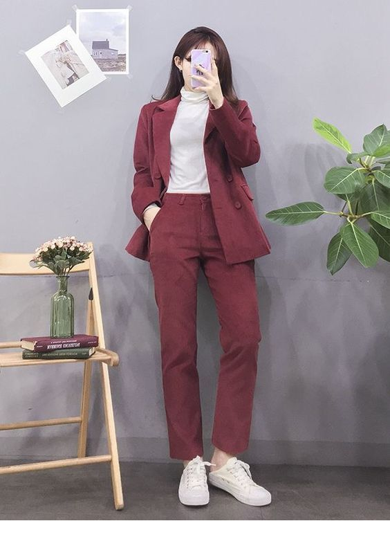Velvet suit, white sneakers