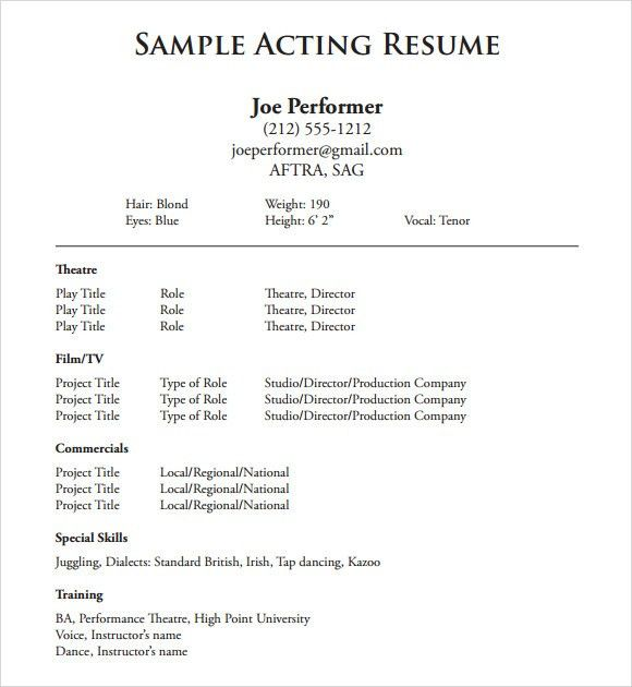 Theater Resume Example actor resume samples achieve your dream - sample actors resume