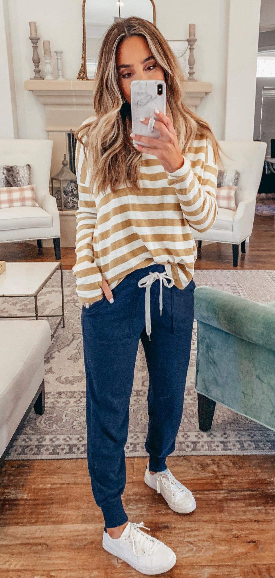 white and brown stripe long sleeve shirt #winter #outfits